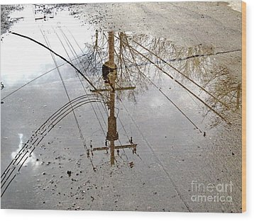 Puddle Reflections  Wood Print