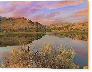 Reflection Of Scenic High Desert Landscape In Central Oregon Wood Print