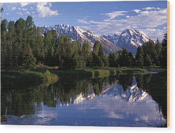 Reflection Of The Teton Mountans Wood Print by Richard Nowitz