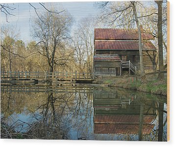 Reflection On A Grist Mill Wood Print by George Randy Bass