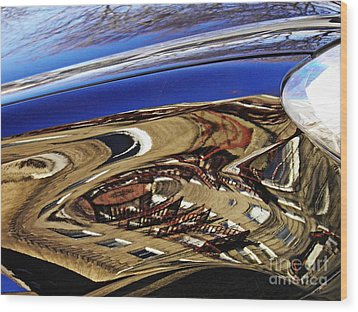 Reflection On A Parked Car 11 Wood Print by Sarah Loft