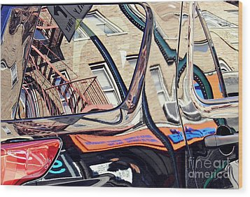 Wood Print featuring the photograph Reflection On A Parked Car 18 by Sarah Loft