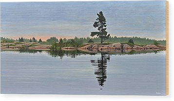 Wood Print featuring the painting Reflection On The Bay by Kenneth M Kirsch