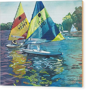 Reflections After The Race Wood Print by LeAnne Sowa