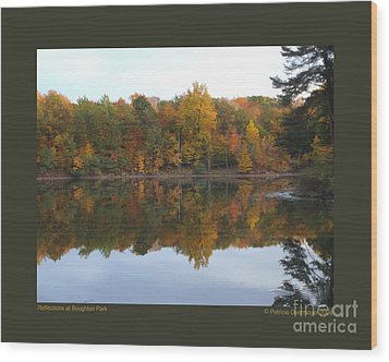 Reflections At Boughton Park Wood Print by Patricia Overmoyer