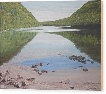 Reflections At Bubble Pond Wood Print by Harvey Rogosin
