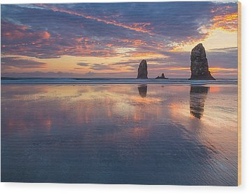 Wood Print featuring the photograph Reflections At Cannon Beach by Patricia Davidson
