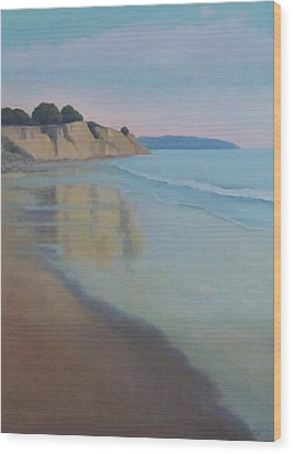 Reflections At Summerland Beach Series 3 Wood Print