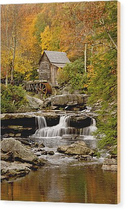 Reflections At The Glade Creek Grist Mill Wood Print