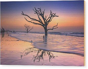 Reflections Erased - Botany Bay Wood Print by Rick Berk