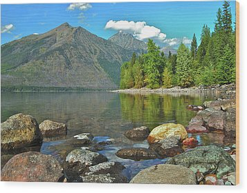 Reflections Glacier National Park  Wood Print by Michael Peychich