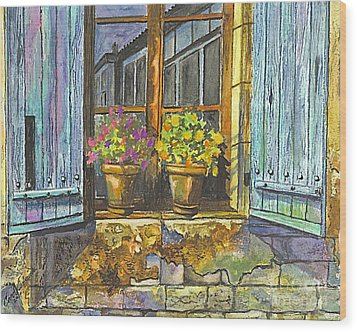 Wood Print featuring the painting Reflections In A Window by Carol Wisniewski