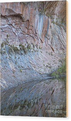 Wood Print featuring the photograph Reflections In Oak Creek Canyon by Sandra Bronstein