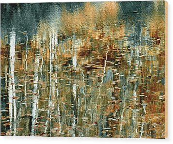 Wood Print featuring the photograph Reflections In Teal by Ann Bridges