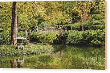 Wood Print featuring the photograph Reflections In The Japanese Garden by Iris Greenwell