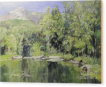 Wood Print featuring the painting Reflections by Laurie Rohner