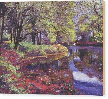 Reflections Of Azalea Blooms Wood Print by David Lloyd Glover