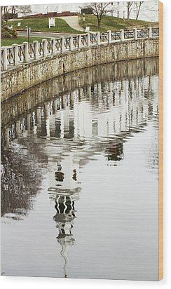 Reflections Of Church Wood Print by Karol Livote