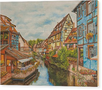 Reflections Of Colmar Wood Print by Charlotte Blanchard