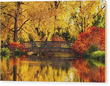 Reflections Of Fall Wood Print by Kristal Kraft