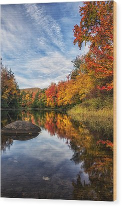 Reflections Of Fall Wood Print by Mark Papke