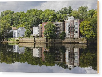 Reflections Of Haverhill On The Merrimack River Wood Print by Betty Denise