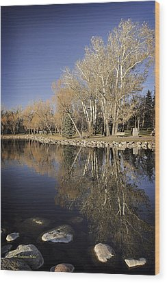 Reflections Of Henderson Wood Print by Tom Buchanan