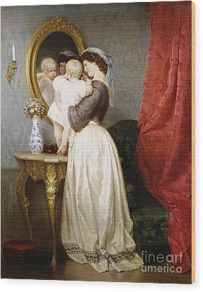 Reflections Of Maternal Love Wood Print by Robert Julius Beyschlag