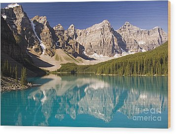 Reflections Of Moraine Lake Wood Print by Andrew Serff