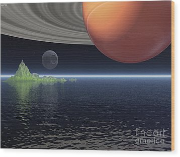 Wood Print featuring the digital art Reflections Of Saturn by Phil Perkins