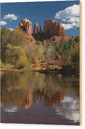 Reflections Of Sedona Wood Print by Joshua House