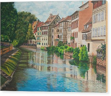 Reflections Of Strasbourg Wood Print by Charlotte Blanchard