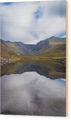 Reflections Of The Macgillycuddy's Reeks In Lough Eagher Wood Print by Semmick Photo