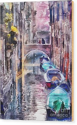 Reflections Of Venice Wood Print by Shirley Stalter