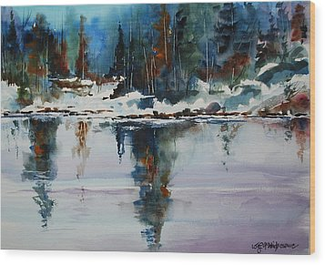 Reflections On A Frozen Pond Wood Print by Wilfred McOstrich