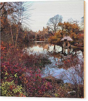 Wood Print featuring the photograph Reflections On A Winter Day - Central Park by Madeline Ellis