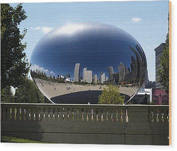 Reflections On Chicago Wood Print by Harold Piskiel