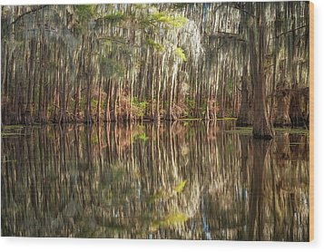 Reflections On The Bayou Wood Print