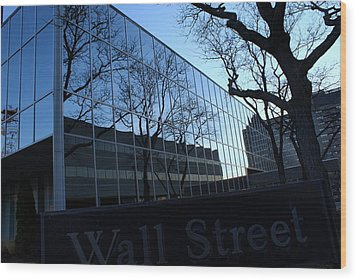 Reflections On Wall Street Wood Print by Lois Lepisto