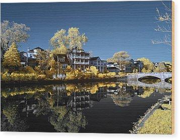 Reflections On Wesley Lake Wood Print by Paul Seymour