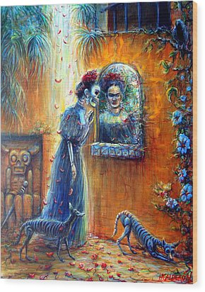 Wood Print featuring the painting Reflejo De Frida by Heather Calderon