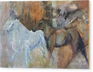 Wood Print featuring the painting Reflextion Of The White Horse by Frances Marino