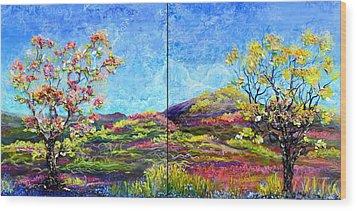 Refresh And Renew As A Diptych Orientation 1 Wood Print by Regina Valluzzi