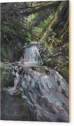 Wood Print featuring the painting Refreshed - Rainforest Waterfall Impressionistic Painting by Karen Whitworth