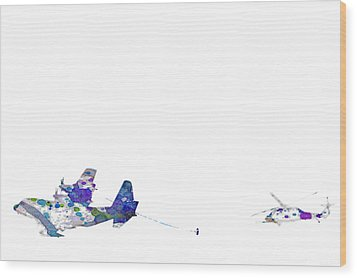Wood Print featuring the digital art Refueling Watercolor On White by Bartz Johnson