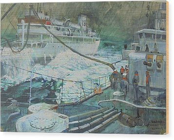 Wood Print featuring the painting Refuelling At Sea. by Mike Jeffries