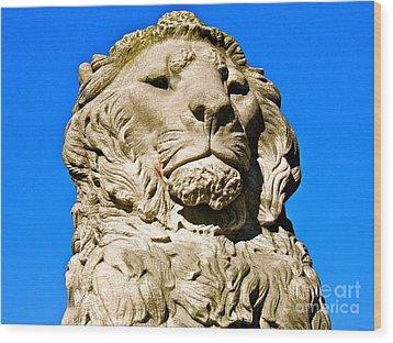 Regal Lion Wood Print by E Robert Dee