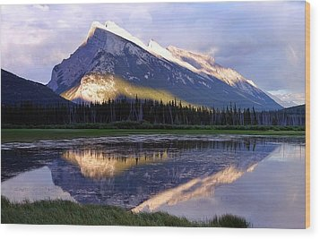 Mount Rundle Wood Print by Heather Vopni