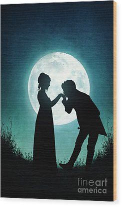 Regency Couple Silhouetted By The Full Moon Wood Print by Lee Avison