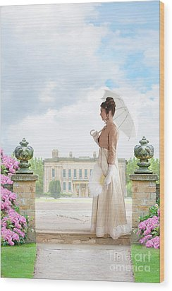 Regency Woman In The Grounds Of A Historic Mansion Wood Print